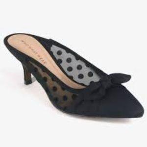 Kitten Heel Mules Sz 8.5 Polka Dot Black Mesh Bow